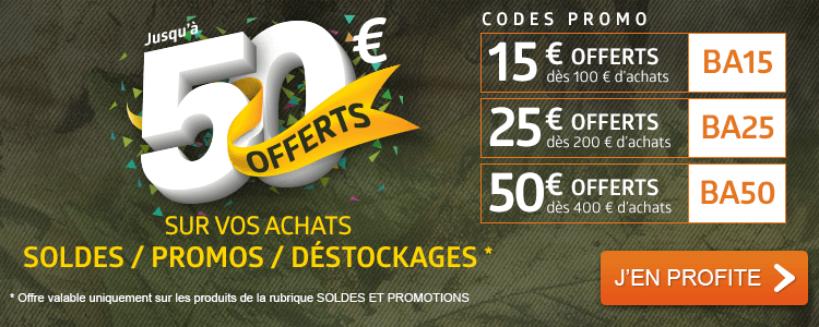 Jusqu'à 50 € OFFERTS sur vos achats Soldes / Promos / Déstockages