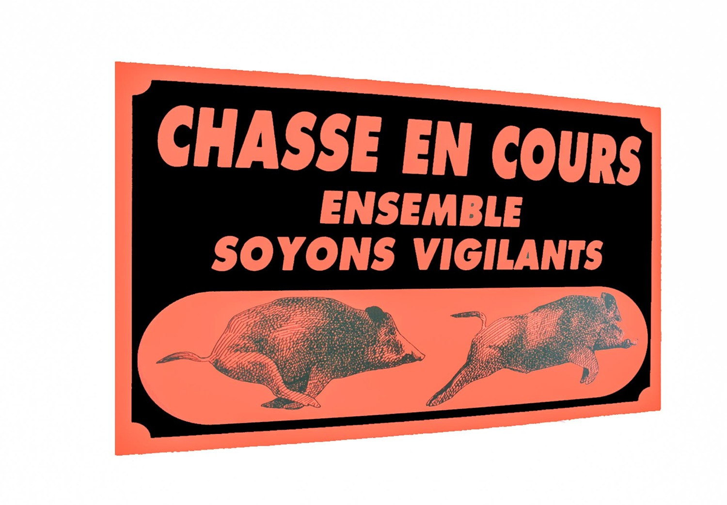 Pack 5 panneaux 60 x 40 cm chasse en cours, made in chass...