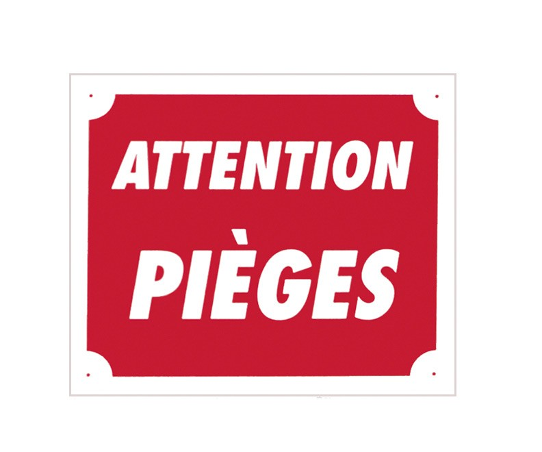Pack 10 pancartes de chasse attention piÈges, made in cha...