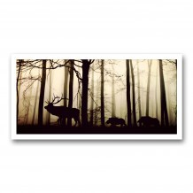 Plaque photo décorative ALU Cerf et sangliers